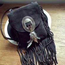 купить Women Pu Leather Bag tassel shoulder bag fashion Feather gray shoulder bag Fringe Tassel Women Messenger Bags дешево