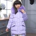 2016 Moda Meninas jaquetas/casacos de inverno Casacos grossos do bebê Rússia pato casaco Quente Crianças Outerwear-30 graus jaqueta V-0478
