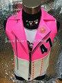 Хип-хоп Джаз Белый Молния Розовый Кожаный Жилет Куртка Певец наряд Костюм Горный Хрусталь Панк Ds Dj Верхняя Одежда Ночной Клуб Одежда