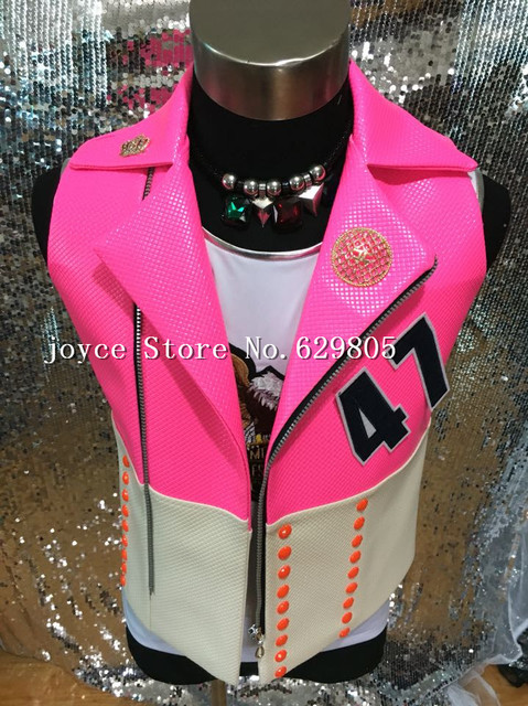 Hiphop Jazz White Zipper Rose Leather Vest Jacket Male Singer outfit Costume Rhinestone Punk Ds Dj Outerwear Nightclub Clothing