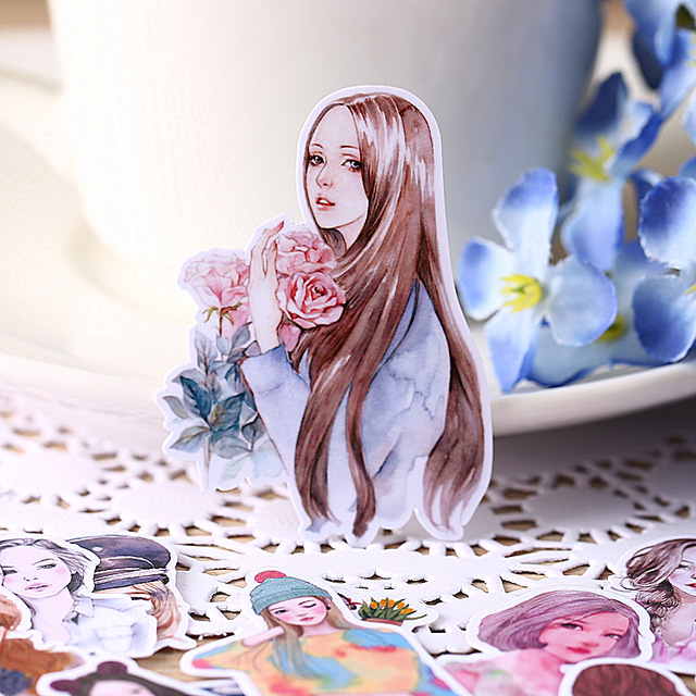 33pcs Mori Women / Fresh Beauty / Homemade Stickers Bags Handbook Stickers Handbook Peripheral Line DIY Sticker Pakc Photo Album