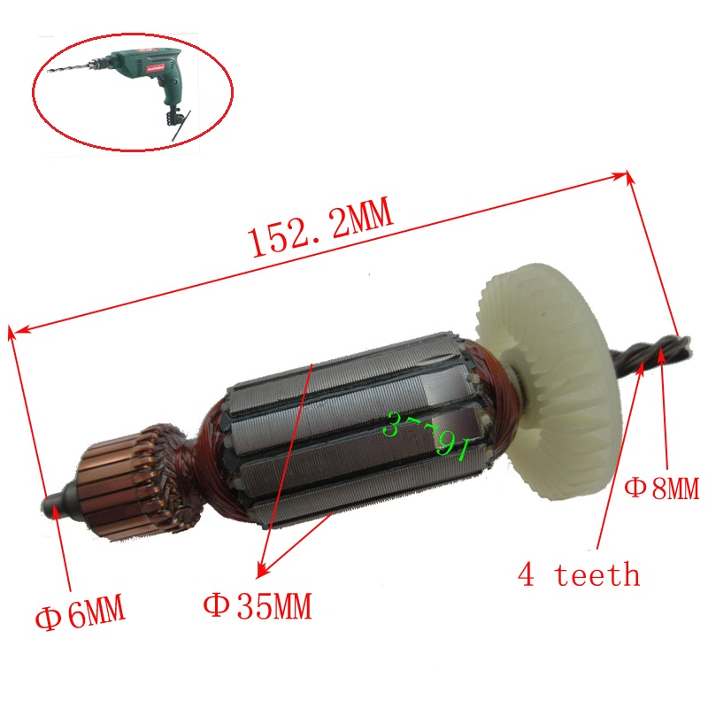 AC220-240V Replacement Armature Rotor Motor for metabo BE560 BE561 Portable Electric Drill Machine Repair parts ac 220 240v armature motor rotor replacement for bosch gbm500re gsb450re psb400re gsb13re gbm400re armature parts engine