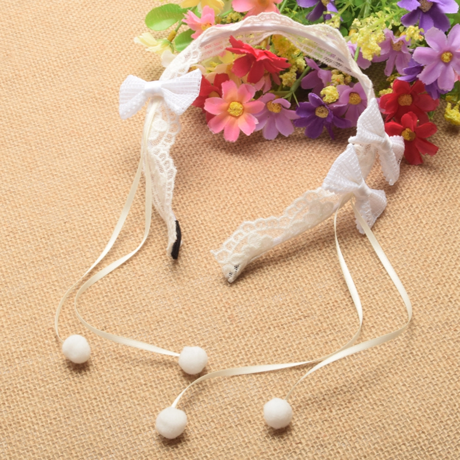 Handmade Lace Bow Hairband Girls Sweet White Tassel Headband Hair Accessories