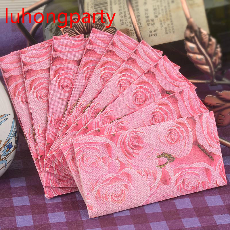 5packs Abstract Romantic Red Rose Flower Napkin Paper Handy Pocket toilet tissue coffee hotel wedding party decoration supplies