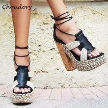 Choudory Cover Heel Woman Gladiator Sandals Open Toe Platform Chunky High Heel Women Shoes Concise Cross-tied Zapatos Mujer