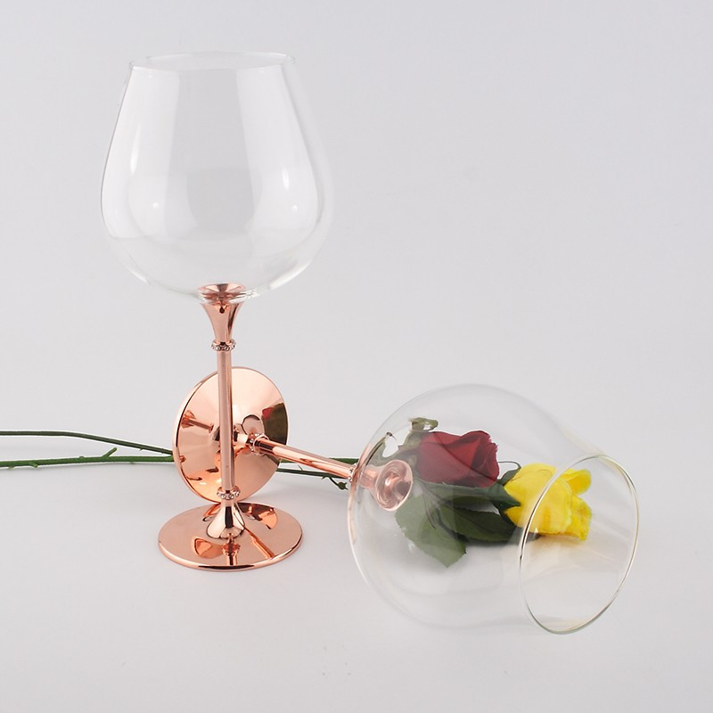 2016 new design clear crystal 680ml wine glass with rose gold stem