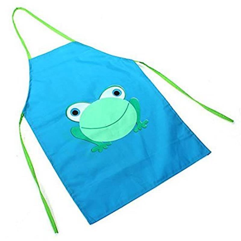 Childrens Waterproof Apron Cartoon Frog Printed Painting Cooking Blue ...