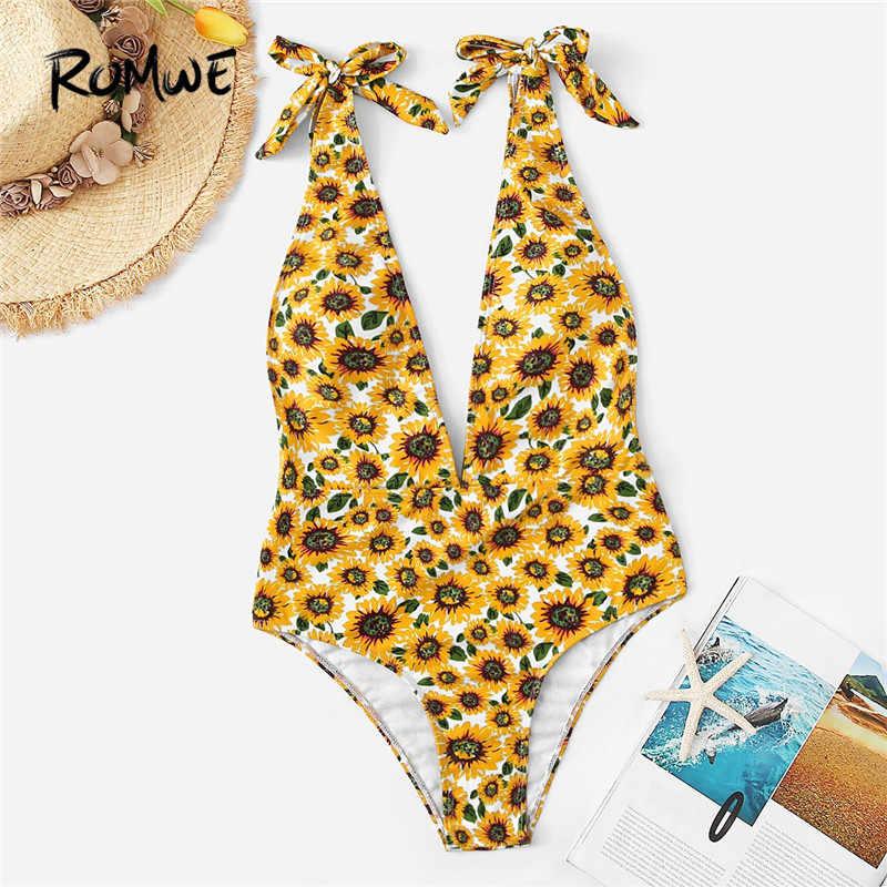 644d22deb74b9 Romwe Sport Yellow Sun Flower One Piece Swimsuit Tied Knot Strap Sexy Deep  V Neck Swimwear