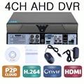 4 canais CCTV segurança AHD DVR gravador de vídeo 4ch 720 P H.264 HDMI P2P DVR para AHD câmeras câmeras analógicas