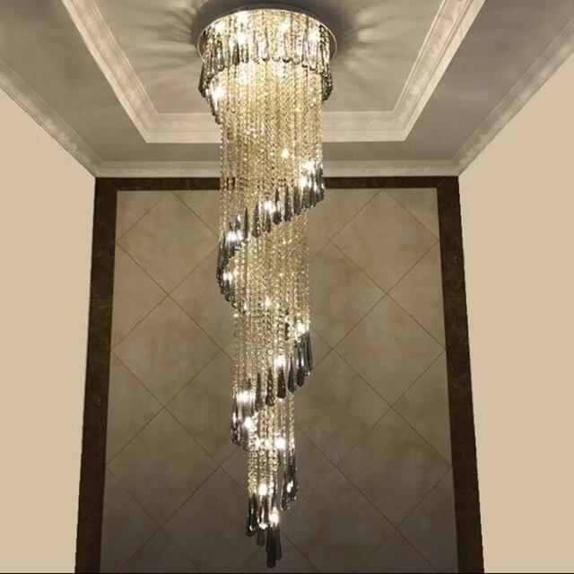 Modern Lighting Chandelier For Smoky Gray Crystal Luxury Fixtures Long  Interior Stairway Lighting Corridor Chandelier