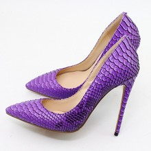 New Brand Women Black Snakeskin Leather Thin High Heel Dress Shoes Celebrity Party Pumps Female Wedding Heels Big Size C010C