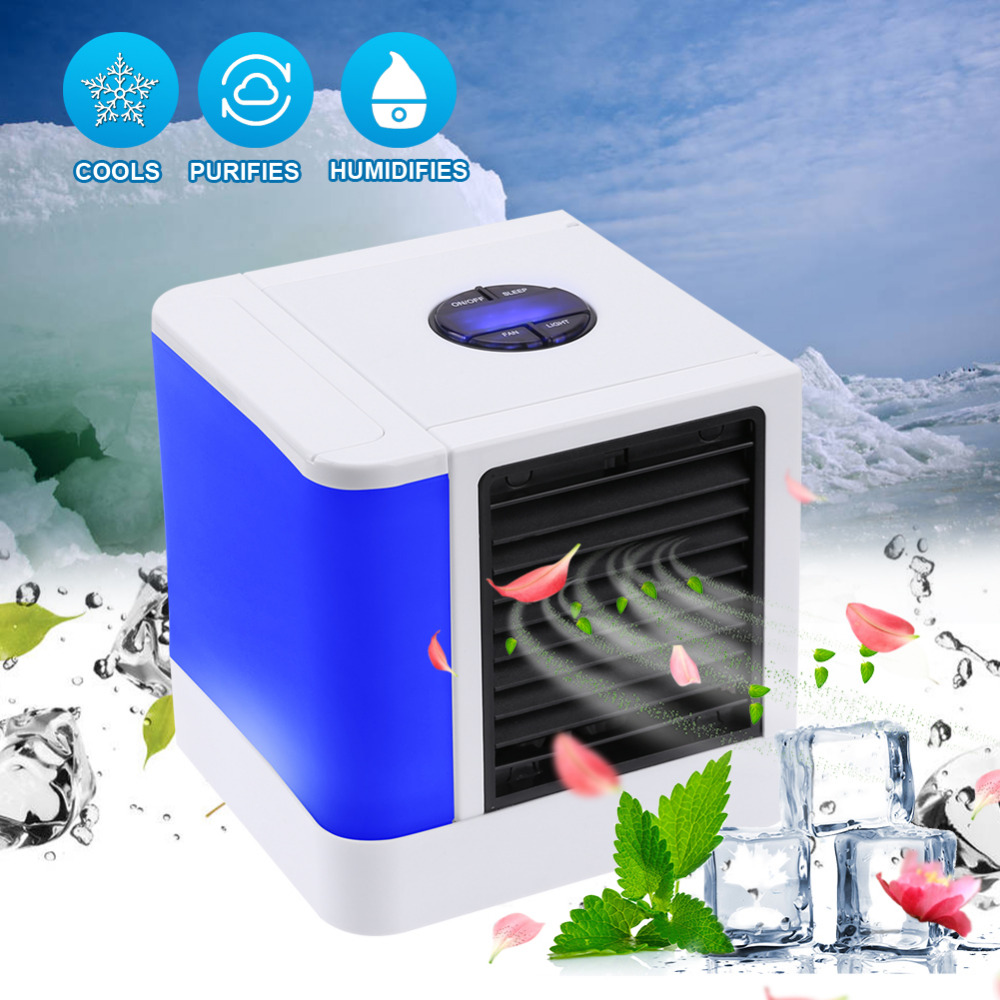 USB Portable Cooling Air Conditioner Desktop Cooling Fan for Office Purifier and 7 Colors LED Night Humidifier Air Cooler 3 in 1 Mini Mobile Personal Space Cool Air Ultra