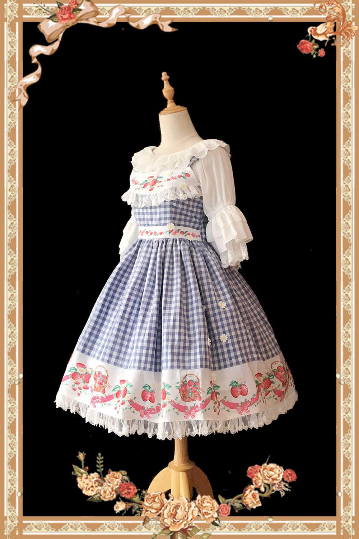 Doce vestido xadrez feminino morango impresso algodão casual lolita jsk vestido de infanta