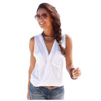 Women's Sexy V Neck Sleeveless Sexy T-Shirt(Blue ROSE RED, BLUE, BLACK, WHITE)