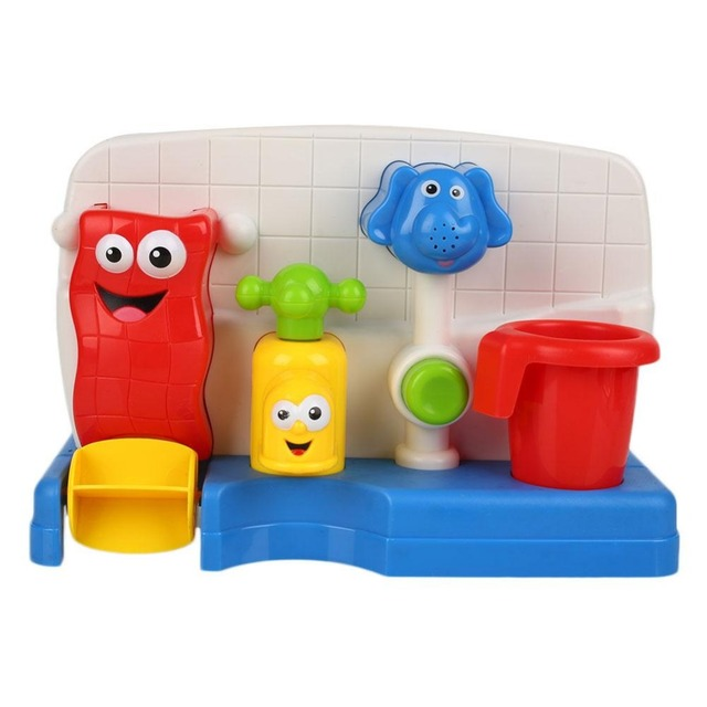 Baño de Juguetes Para Niños de Agua Grifos Grifo Apuntalada Surtidor Automático de Aerosol de la Ducha de Agua Juego Juguete Del Baño Del Bebé Juguetes