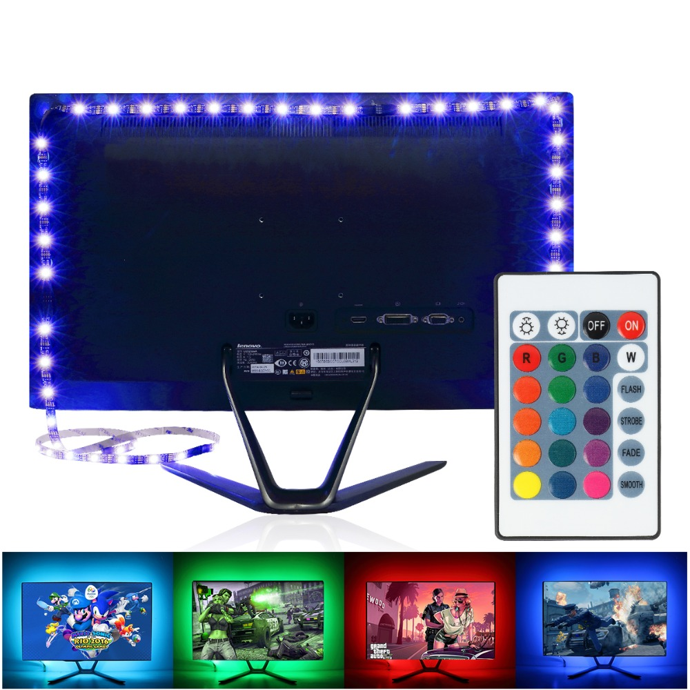 led-strip-5v-1m-2m-16-color-change-for-tv-background-lighting-with-usb-24key-ir-controller-nowaterproof-rgb-5050smd