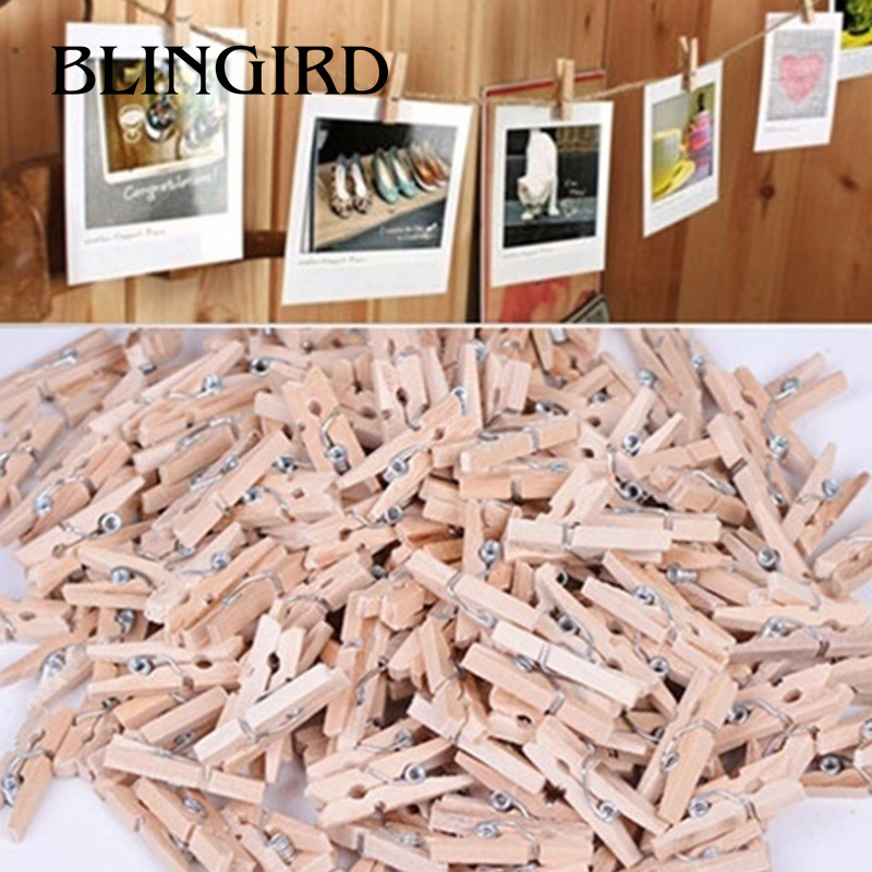 50 Pcs Mini Wooden Natural Clip Pack Of Small DIY Wedding Party Natural Clips Office Supplies 2.5*0.3CM