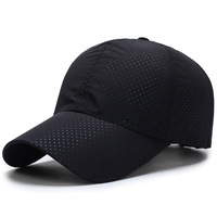 Men's and Women's Adjustable Baseball Cap with Breathable eyelet Curved visor Spring and Summer Dad Hat Sport Quick drying Black