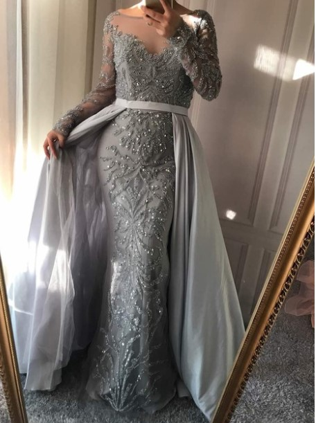 d85b1fe845 US $209.3 30% OFF|Luxury Dubai Arabic Robe De Soiree Evening Dresses 2019  New Long Sleeve Prom Dress Party Crystal Beaded Vestido De Festa BLA6172-in  ...