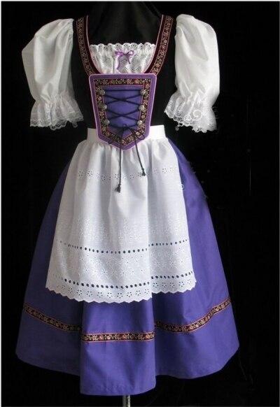 FREE SHIPPING! Oktoberfest Wench Beer Maid Heidi Dirndl Dress Bar Girl Long Purple Fancy Dress New Bavarian Costume