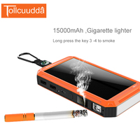 15000mAh Waterproof Solar Power Bank With Gigarette Lighter Poverbank LED Lighter Portable Charger Powerbank External Battery