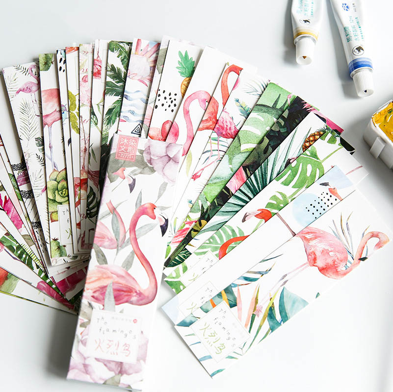 30pcs creative pink flamingo paper bookmark Paper boxed Animals Promotional Gift Stationery Film exquisite bookmarks for books