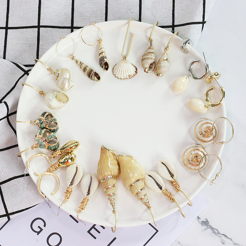 FASHIONSNOOPS New Sea Shell Earrings For Women Trendy Geometric Metal Shell Cowrie Statement Earrings 2019 Summer Beach Jewelry