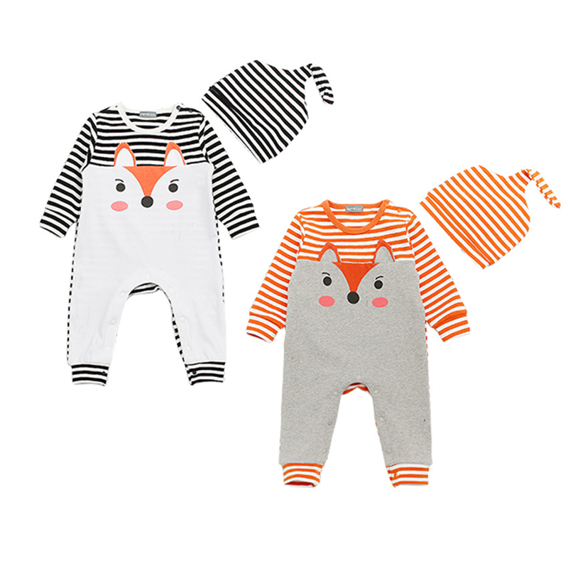 2017 Spring New Fashion Baby Boy Clothes Set  Fox Cute Gray Striped Baby Rompers+Hat Newborn Baby Clothing Set