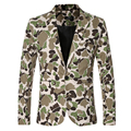 Camouflage Blazer Jacket Men Fashion Casual Mens Slim Single Button Tactical Male Coat 2016 Autumn New Stage Costumes Homme