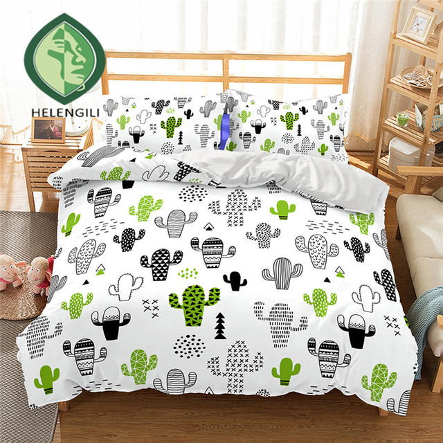 HELENGILI 3D Bedding Set Cactus Print Duvet cover set lifelike bedclothes with pillowcase bed set home Textiles #2-5