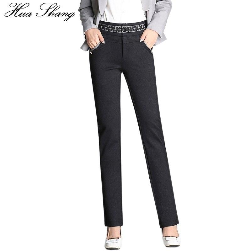 Autumn Winter Pants Elegant Floral High Waist Pencil Pants Ladies Work Office Trousers Pockets Elastic Strech Pants Plus Size