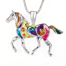 Colorful Horse Necklace Enamel Brincos Vintage Ethnic Animal Pendant For Women Fashion Jewelry 2016 Drop Shipping