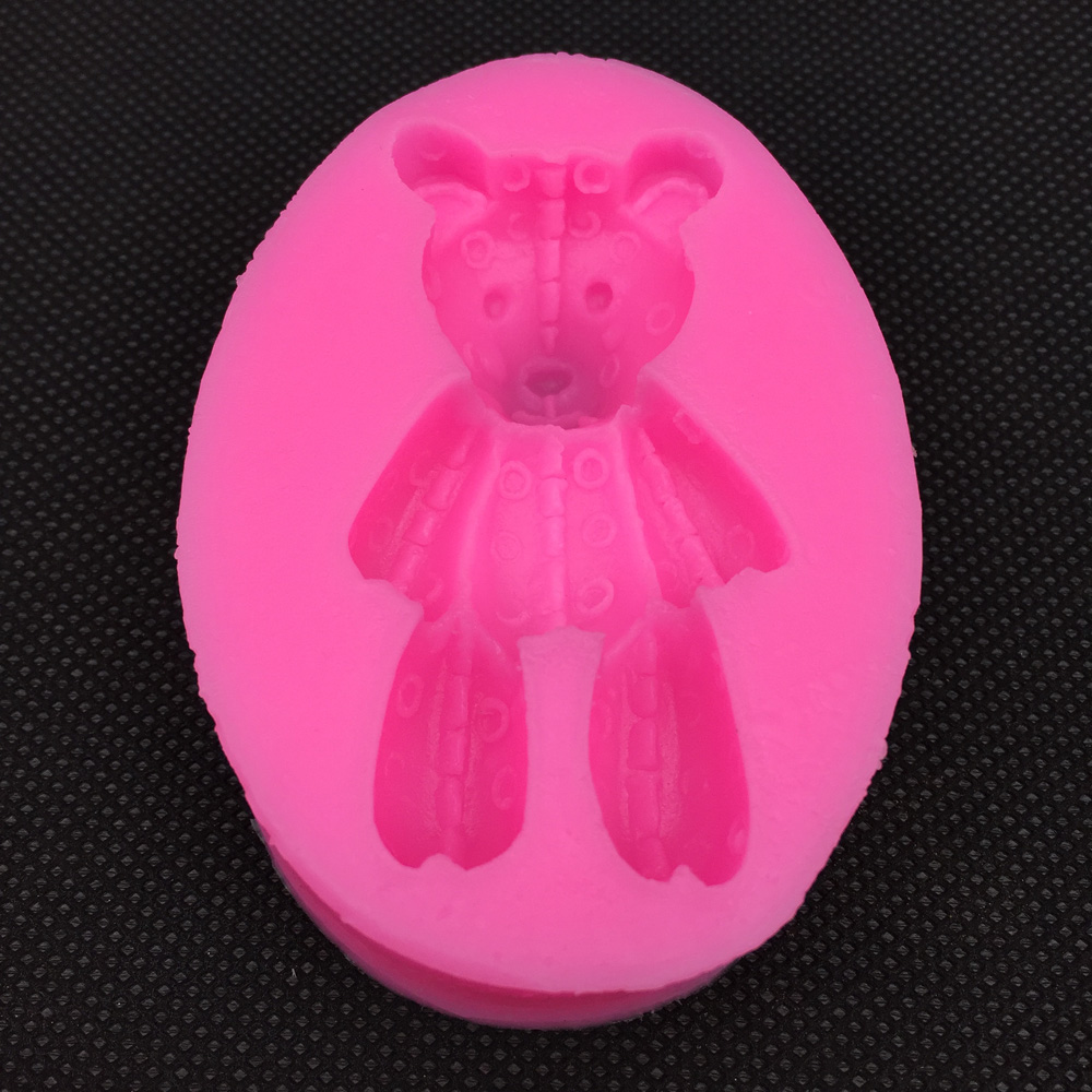 3D Reverse sugar molding Teddy bear Cartoon shape silicone mould for soap candle polymer clay molds cake decoration tool FT-0355