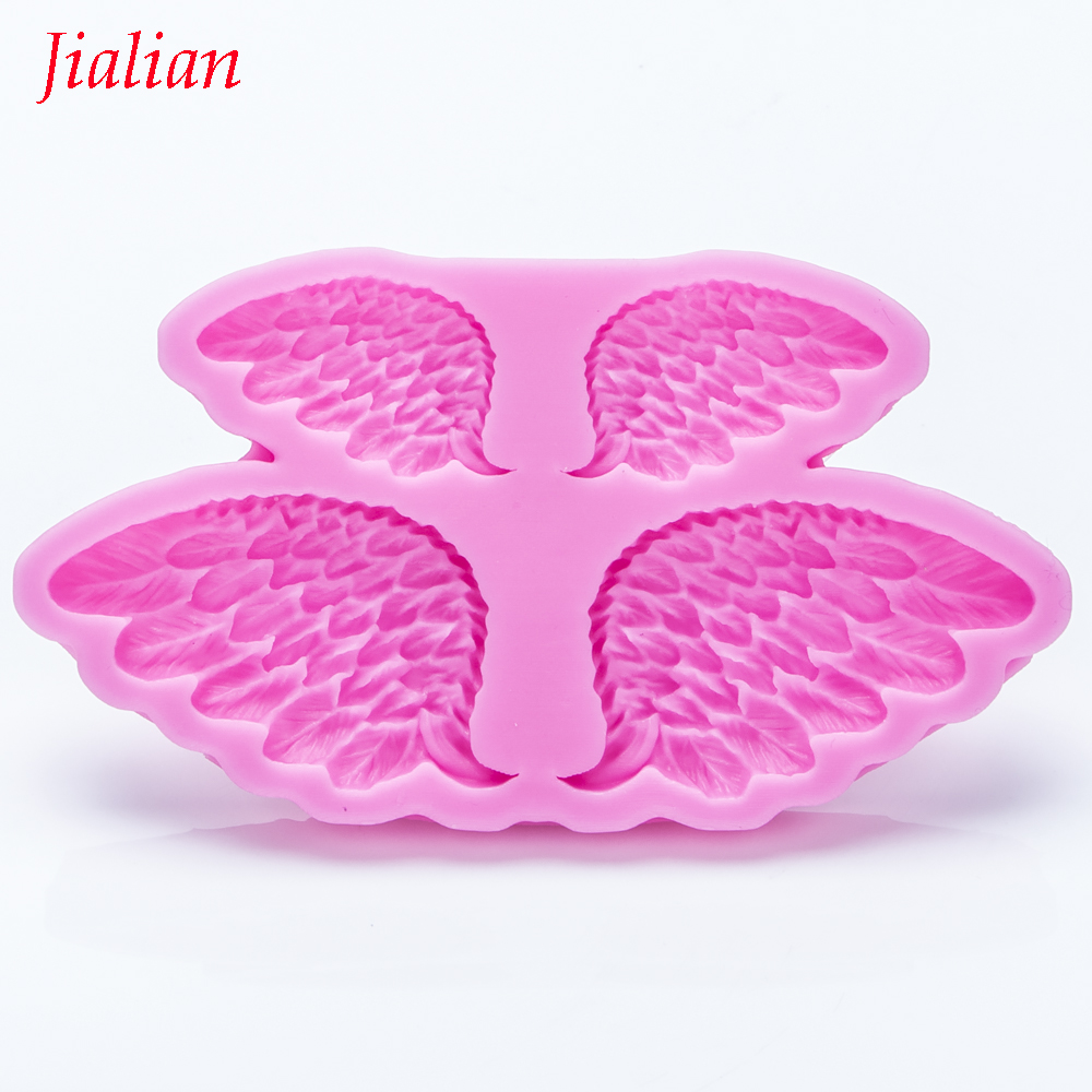 Jialian Goose feather Angel Wings <font><b>Silicone</b></font> <font><b>Mold</b></font> <font><b>Fondant</b></font> <font><b>Cake</b></font> <font><b>Decorating</b></font> <font><b>Tools</b></font> Sugarcraft Chocolate Candy Clay Moulds FT-0955 image