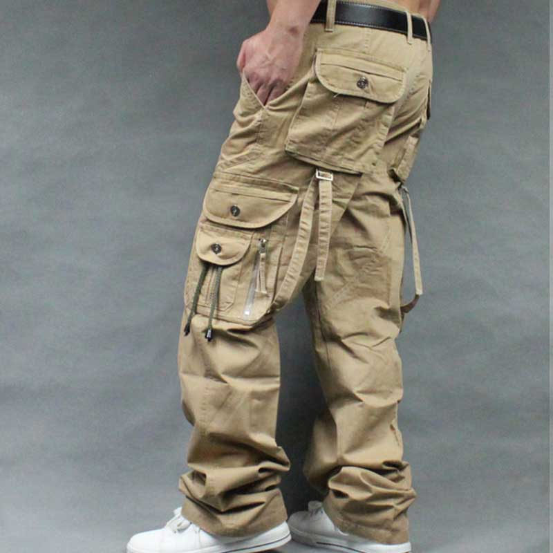 Straight Cargo Pants for Men Casual Loose Baggy Long Pants with Many Pocket Cotton Trousers Streetwear Joggers Man Clothing image
