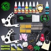 Professional Tattoo Kit Set 2 Handmade Wire Cutting Tattoo Machine Gun Digital Tattoo Power Supply Immoral Tattoo Inks