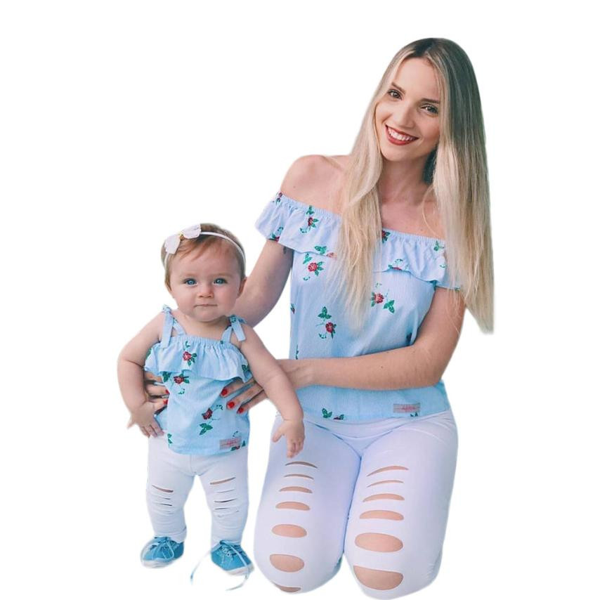 MUQGEW Mommy Me Baby Girl Floral Print Sleeveless Ruffles T-Shirt Tops Family Clothes Women Family Outfit Clothes 0611 ...