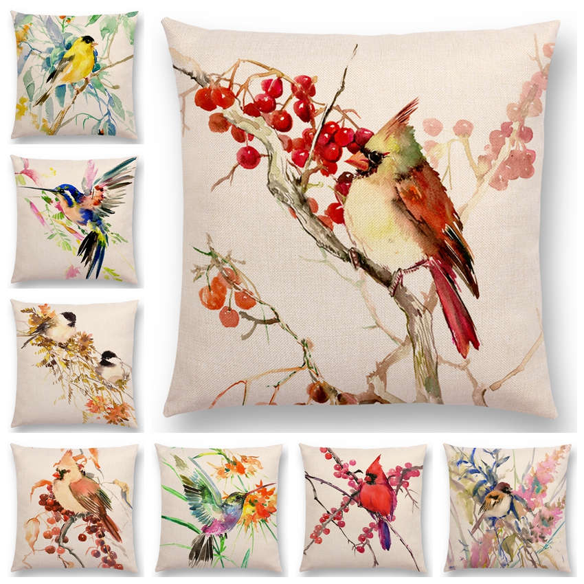 Watercolor Birds Series Cushion Cover Goldfinch Chickadee Cardinal Kingfisher Prints Pillow Case