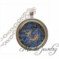 Chinese Style Double Bird Butterfly Peony Pattern Necklaces Glass Dome Silver Antique Bronze Chain Pendants