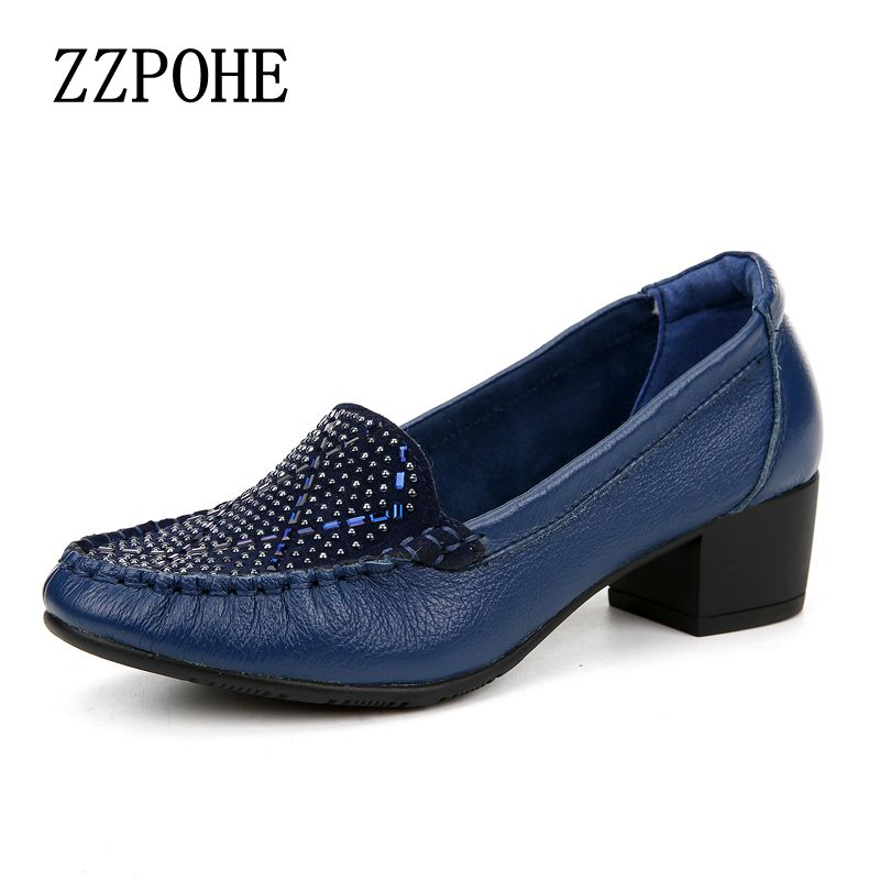 Spring and autumn shallow mouth drill mother shoes leather soft the elderly with a single shoes casual comfortable women shoes the new type of diamond mother sandals lady leather fish mouth flowers with leather high heeled shoes slippers women shoes
