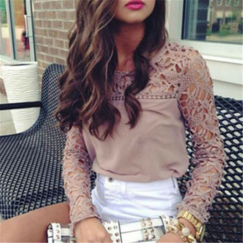 Elegant Lace Blouse Women Shirt Sexy Hollow Out Embroidery Feminine Blouse Women Long Lantern Sleeve Summer Chiffon Tops Female