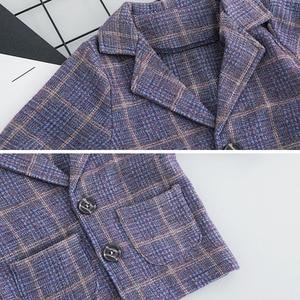 Image 4 - ילד תינוק ילד משובץ חליפת סטי בגדי אופנה 3PCS פעוט בנות תינוק חליפת מעיל + T חולצה + מכנסיים 1 4 Y