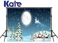 Kate Frohe Weihnachten Gemalt Hintergrund Licht Mond Elch Fliegen Himmel Schnee Haus Fond Photographine Hintergründe Fotostudio Hj02169
