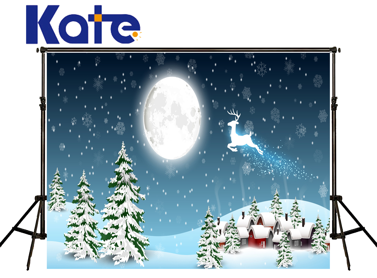 Kate Merry Christmas Painted Backdrop Light Moon Elk Flying Sky Snow House Fond Photographine Backgrounds Photo Studio Hj02169