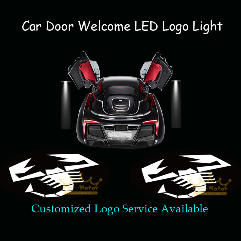 2x Scorpion Logo Car Door Laser Projector Welcome Courtesy Ghost Shadow Puddle Wired LED Light for ABARTH (1011)
