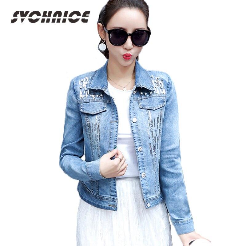 Plus Size Ladies Spring Denim Jacket For Women 2018 Long Sleeve Chaqueta Mujer Slim Pearl Jeans Jacket Women Sequin Denim Coat