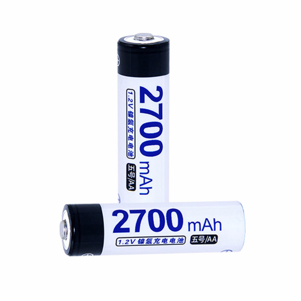 2 pcs AA portable 1.2V NIMH AA rechargeable batteries 2700mah for camera razor toy remote control flashlight 2A batterie