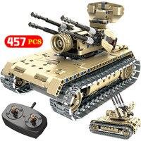 Técnica controle rc uav estrada batalha tanque veículo construção blcoks compatível swat ww2 guerra armas militares tijolos crianças meninos brinquedos