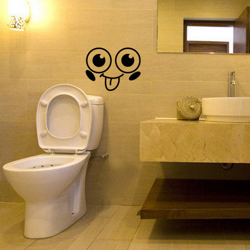 Cute Smiling Face creative toilet sticker bathroom wallpaper funny ...