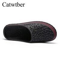 catwtber/новые летние шлепанцы для мужчин с вырезами, пляжные сланцы дышащие, унисекс, повседневные слипоны на плоской подошве, мужская обувь, sandalias хомбре